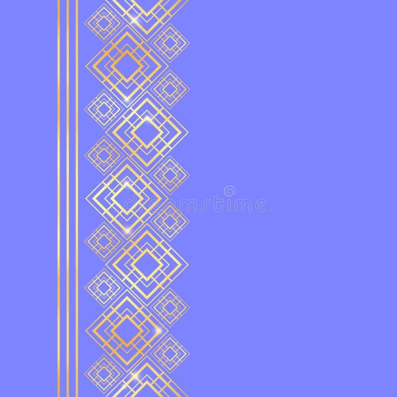 E Frontière sans couture pour la conception Fond de bleu et d'or r Art déco illustration libre de droits