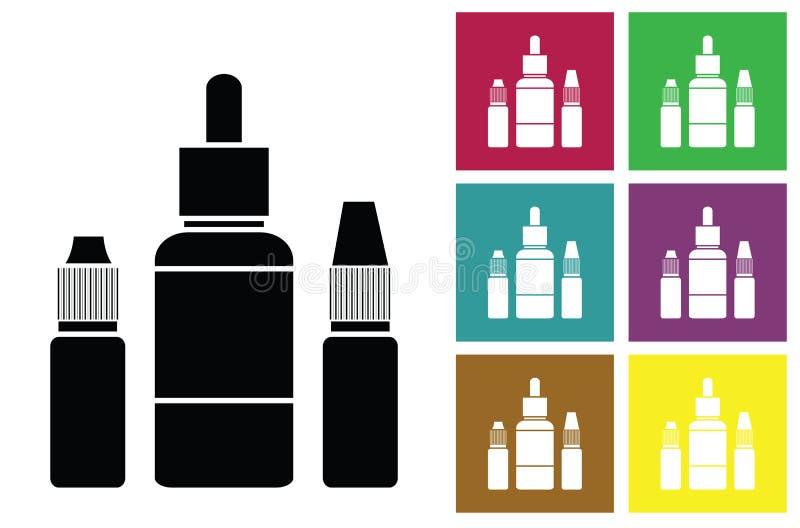 E-fruktsaft Vätska för elektroniska kort för för cigarettvektorsymbol eller färg med flaskor av flytande av elektroniska cigarett stock illustrationer