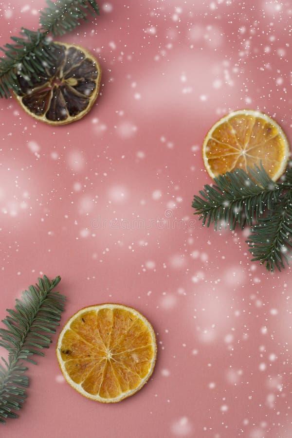 E Fundo do Natal do inverno Vista superior com espaço da cópia imagem de stock