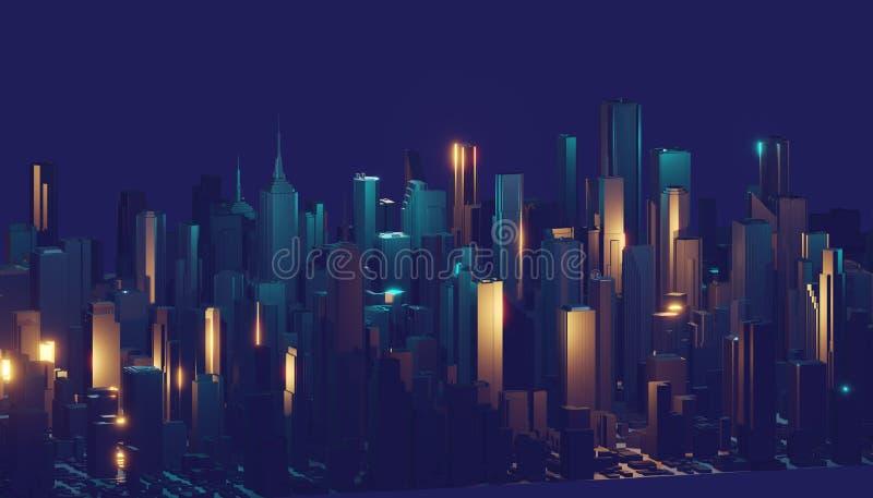 E Futuristisk teknologibakgrund, modig stad för cyberspace framf?rande 3d vektor illustrationer