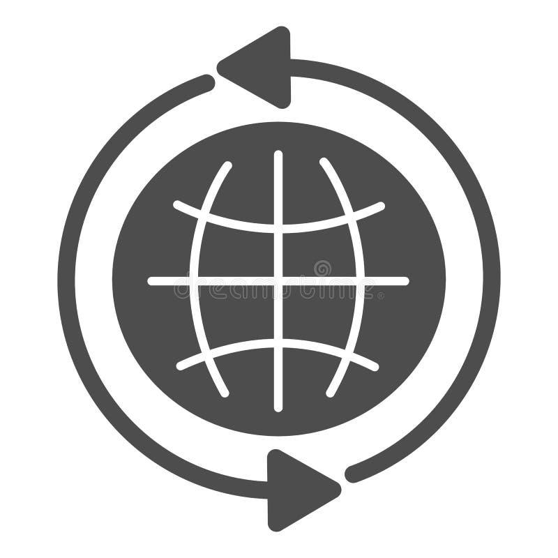 E Gehen Sie zur Netzvektorillustration, die auf Weiß lokalisiert wird Kugel Glyph-Artdesign, bestimmt für Netz und APP vektor abbildung