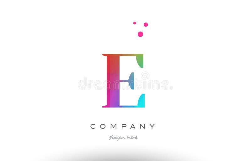 E gekleurd van de het alfabetbrief van regenboog creatief kleuren het embleempictogram royalty-vrije illustratie