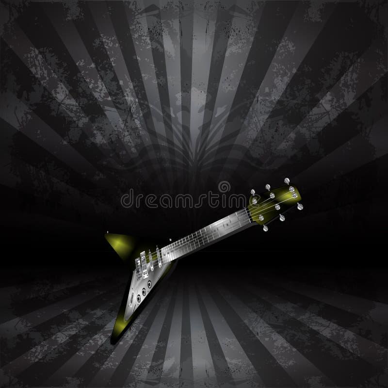 E-Gitarre in der Perspektive auf einer Dunkelheit stock abbildung