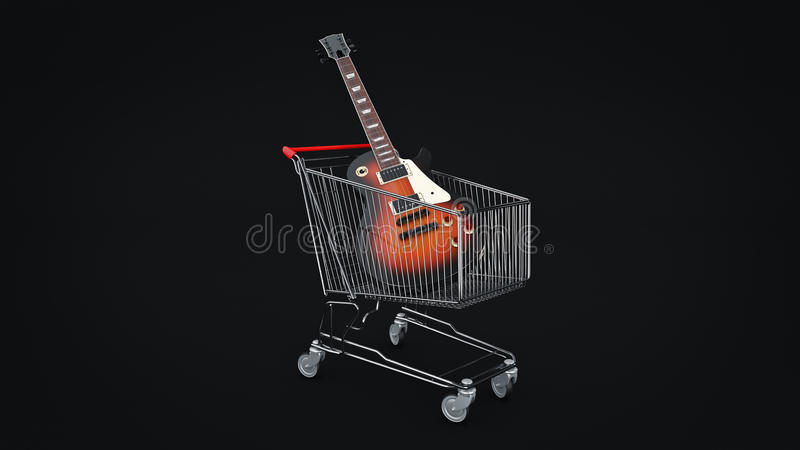 E-Gitarre im Warenkorbkonzept stock abbildung