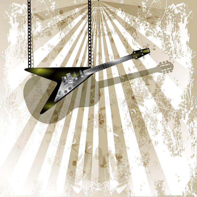 E-Gitarre mit Schatten auf Akustikgitarre lizenzfreie abbildung