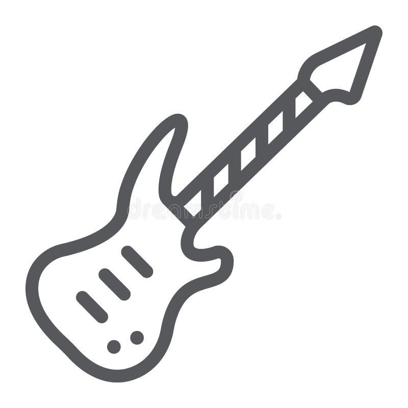 E-Gitarren-Linie Ikone, Musik und Ton, Musikinstrumentzeichen der Schnur, Vektorgrafik, ein lineares Muster auf einem weißen vektor abbildung