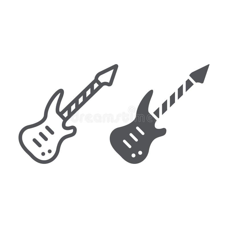 E-Gitarren-Linie und Glyphikone, Musik und Ton, Musikinstrumentzeichen der Schnur, Vektorgrafik, ein lineares Muster stock abbildung