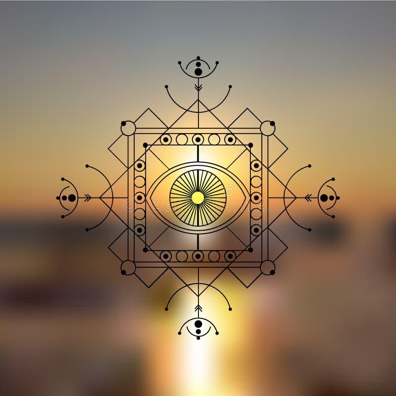 E Goda f?r logo, matt design av yoga och kl?der stock illustrationer