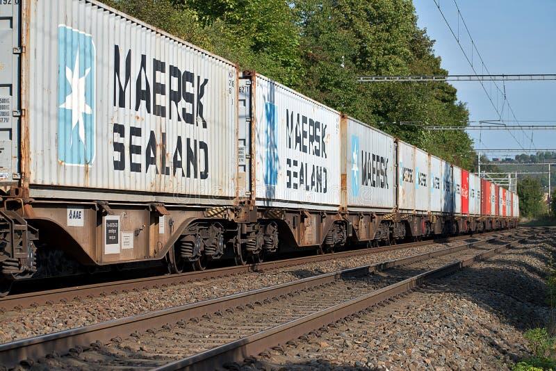 E 4 2019: Goederentrein met containerwagens, CD Lading Geladen containers op wagens royalty-vrije stock foto's
