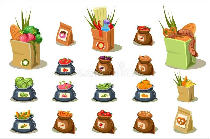 E grönsaker för rad för mat för bönamorotblomkålar naturliga r beståndsdelar för vektor illustrationer