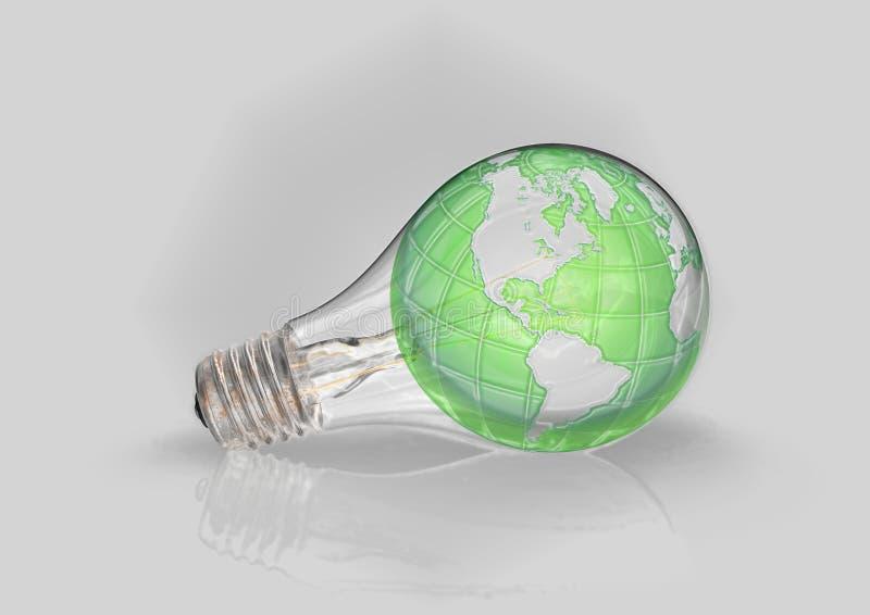 E-grün Glühlampe der grünen Energie Welt stockbilder