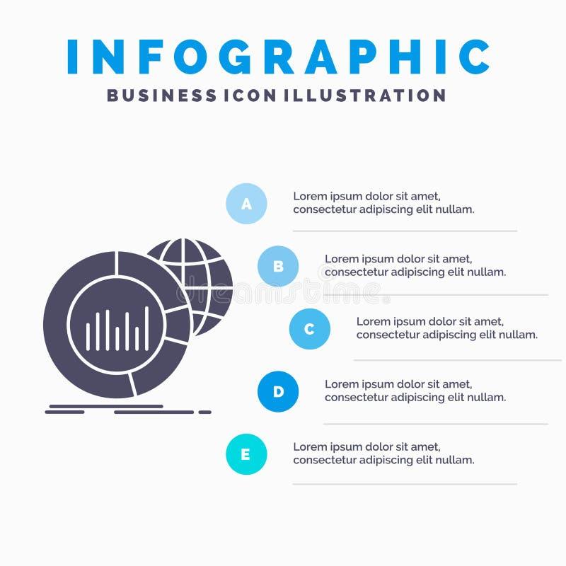 E Graue Ikone des GLyph mit blauem infographic lizenzfreie abbildung