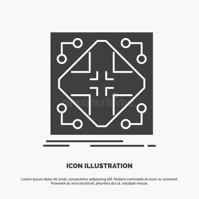 E graues Symbol des Glyphvektors f?r UI und UX, Website oder bewegliche Anwendung vektor abbildung