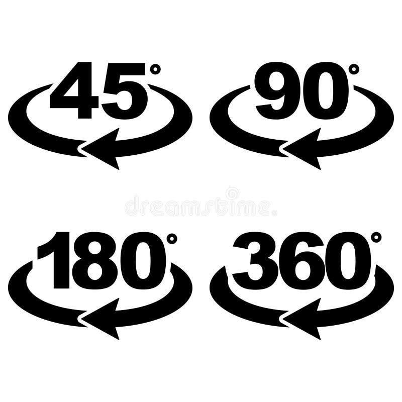 45, 90, 180 e 360 graus veem ícones do sinal ilustração stock