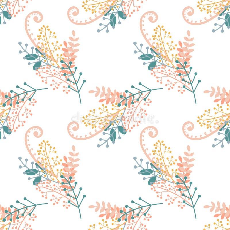 E Groupes tirés par la main de branches, de baies et de feuilles sur le fond blanc, sans couture illustration stock