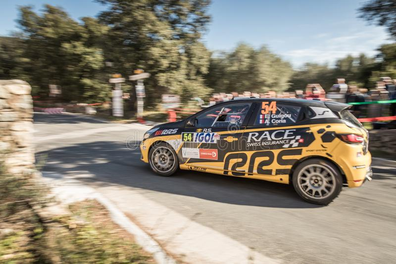 E. Guigou & A. Coria compete in the 2019 WRC Tour de Corse. Regino, Corsica - 31st March 2019. E. Guigou & A. Coria compete in Special Stage SS13 between Regino royalty free stock images