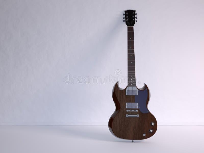 E-Guitar. Illustration and rendering of E-Guitar in white room stock illustration