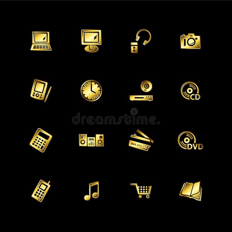 e-guldsymboler shoppar stock illustrationer
