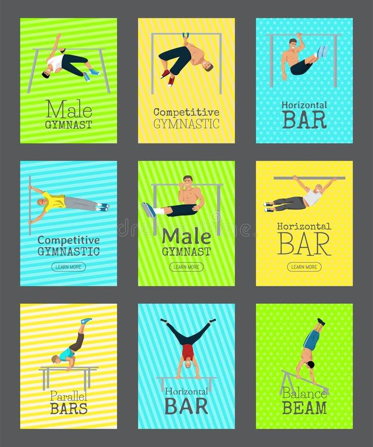 E Gymnastique concurrentiel Barre horizontale Barres parall?les Faisceau d'?quilibre illustration de vecteur