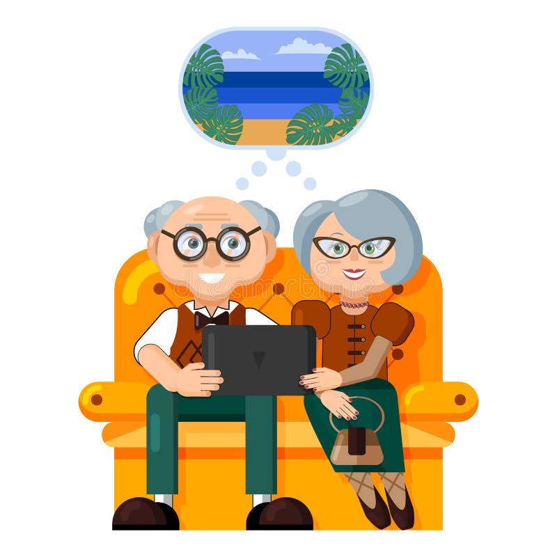 E Härlig äldre pardröm av att resa och att planera en havssemester som väljer en semesterort på internet royaltyfri illustrationer