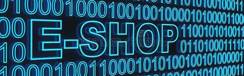 E-hace compras y el código binaty imágenes de archivo libres de regalías