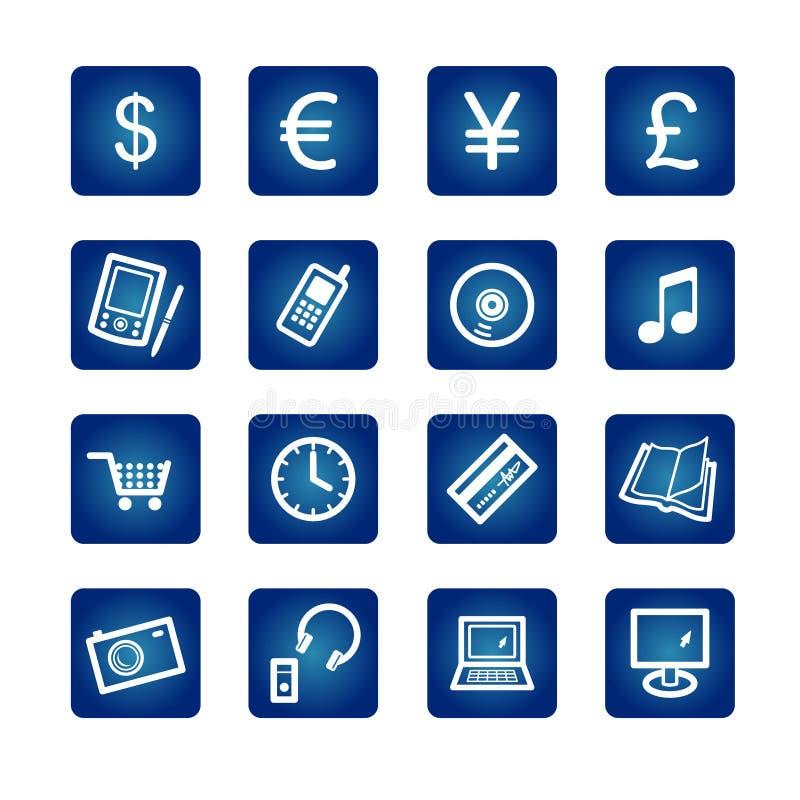 e-hacen compras los iconos stock de ilustración