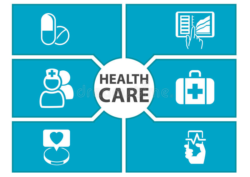 E-health care background with symbols of modern devices like smart phone, tablet, digital medical record vector illustration