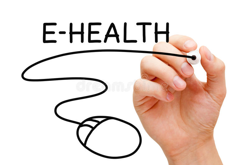 E-Health Computer Mouse Concept. Hand drawing computer mouse under the word E-Health with black marker on transparent wipe board. Electronic Health concept royalty free stock photo