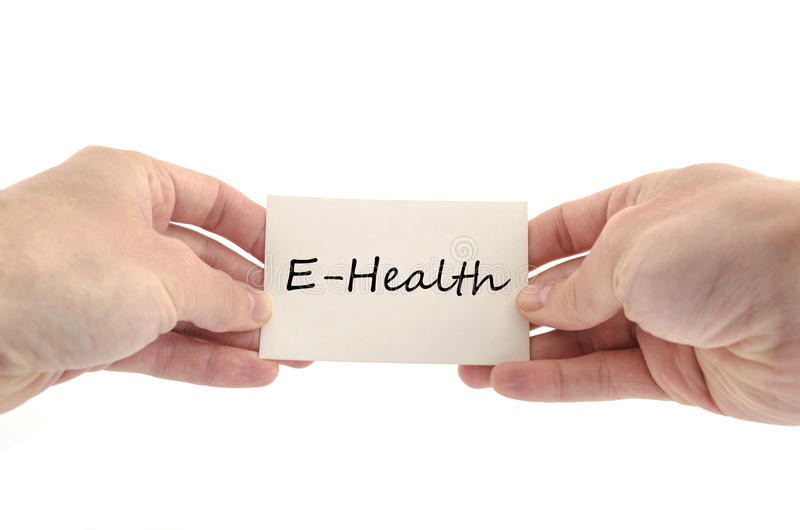 E-health text concept. Isolated over white background stock image