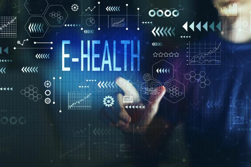 E-Health with young man. On a dark background stock image