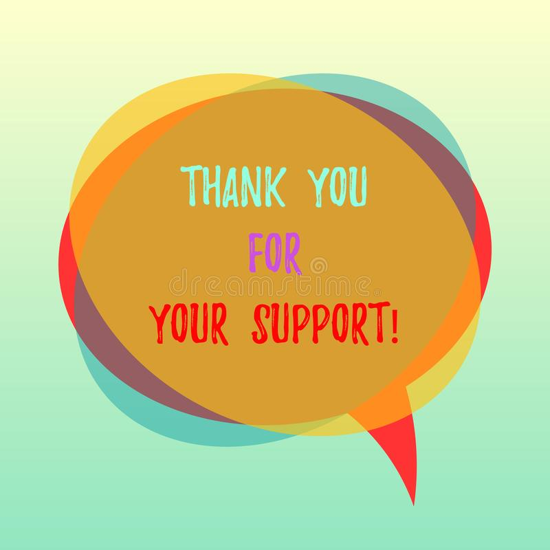 E Het concept die Appreciatie betekenen dankbaar is voor hulp bepaalde Lege Toespraakbel royalty-vrije illustratie