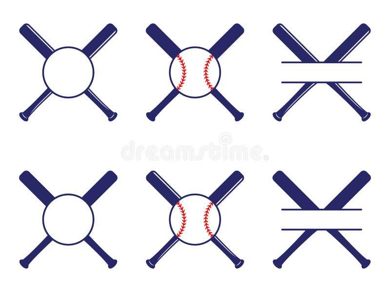 E Het honkbal kruiste Knuppels Criss dwarsknuppels Vlakke vectorillustratie vector illustratie