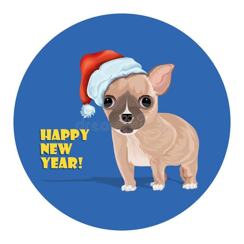 E Het karakter van het beeldverhaal Symbool van het nieuwe jaar 2018 stock illustratie