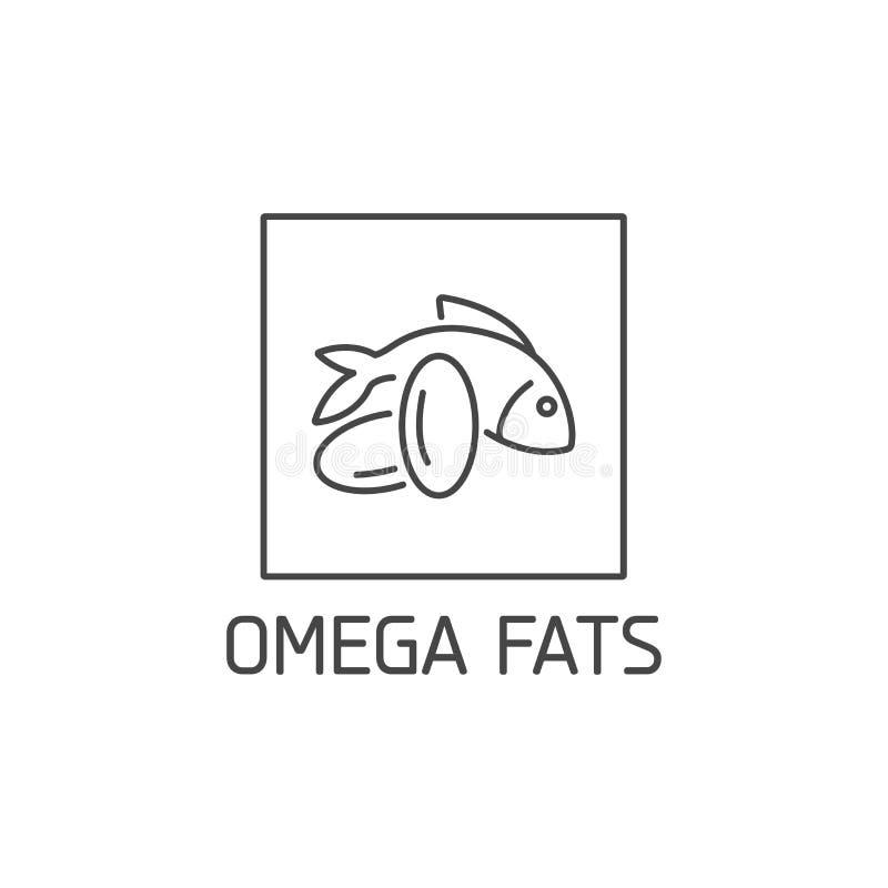 E Het omega ontwerp van het vettenteken Symbool van het gezonde eten stock illustratie