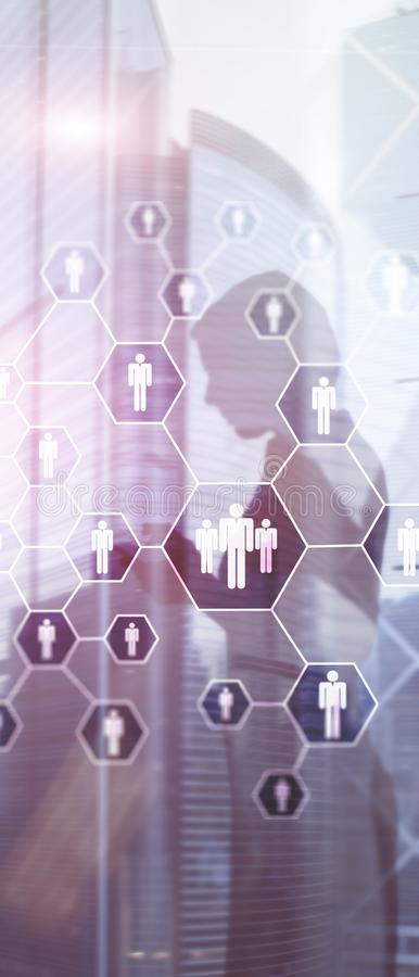 E HR, организационная структура человеческих ресурсов, рекрутства, и социальная концепция сети иллюстрация штока