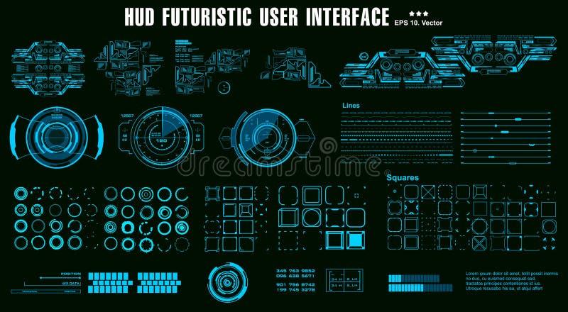 E HUD Dashboard Display stock de ilustración