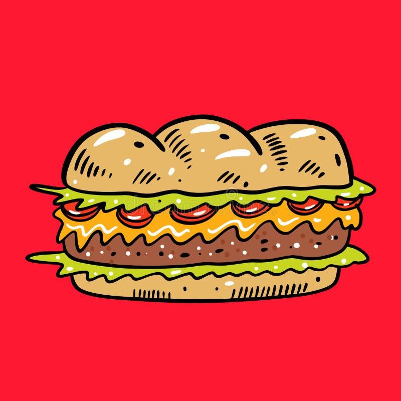 E i 逗人喜爱的食物 隔绝在红色背景 向量例证