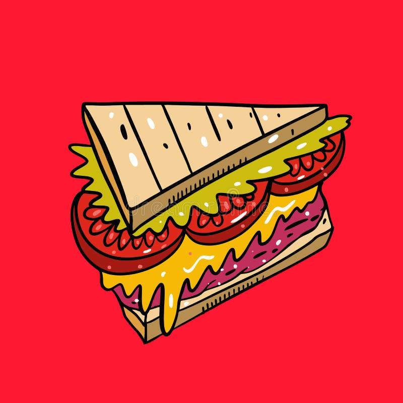 E i 逗人喜爱的食物 隔绝在红色背景 皇族释放例证
