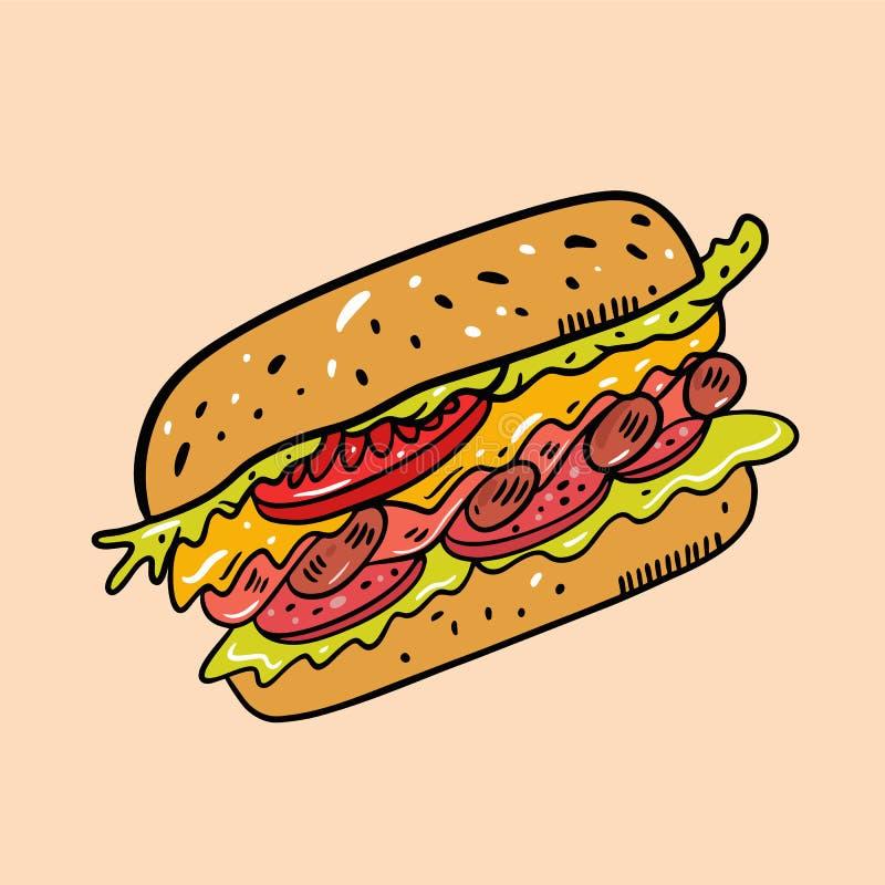 E i 逗人喜爱的食物 E 库存例证