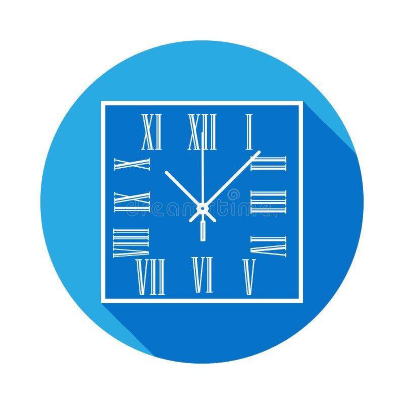 E Icona dell'orologio con ombra lunga Progettazione grafica di qualità premio Segni, raccolta di simboli illustrazione di stock