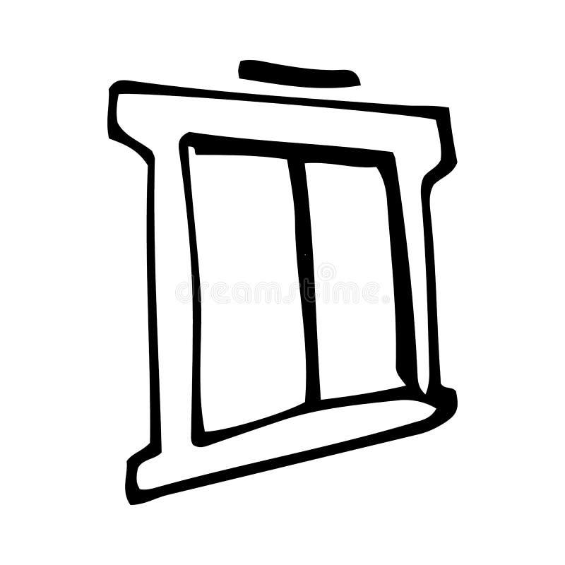 E Icona di stile di schizzo Elemento della decorazione Isolato su priorit? bassa bianca Progettazione piana Vettore illustrazione vettoriale