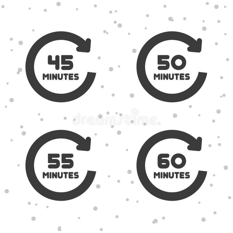 45, 50, 55 e 60 icone di rotazione di minuti Simboli del temporizzatore illustrazione di stock