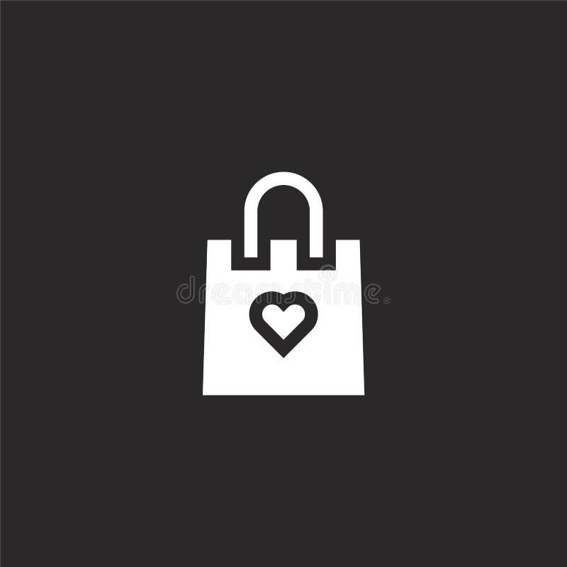 E Icono llenado del bolso que hace compras para el diseño y el móvil, desarrollo de la página web del app icono del bolso de comp ilustración del vector