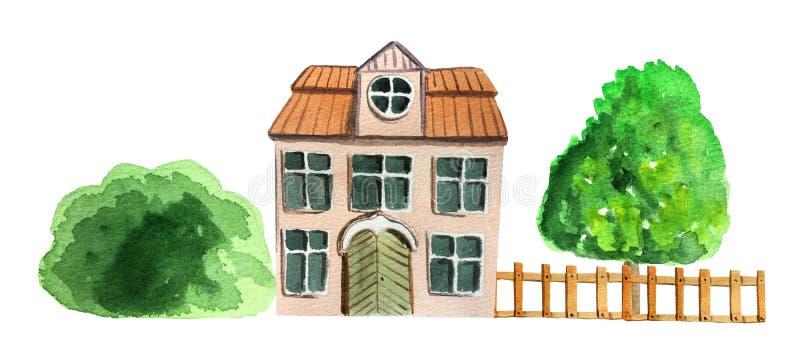 E Illustrazione dell'acquerello per progettazione illustrazione di stock