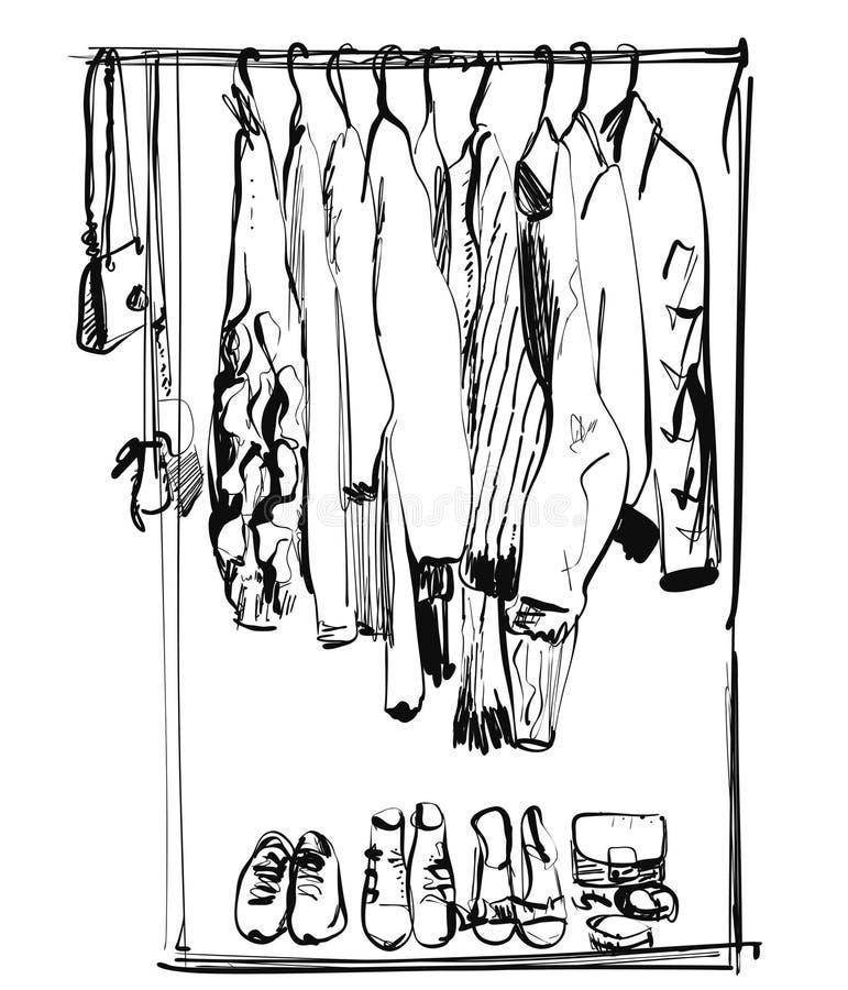 E Illustrazione di vettore di uno stile di schizzo immagini stock