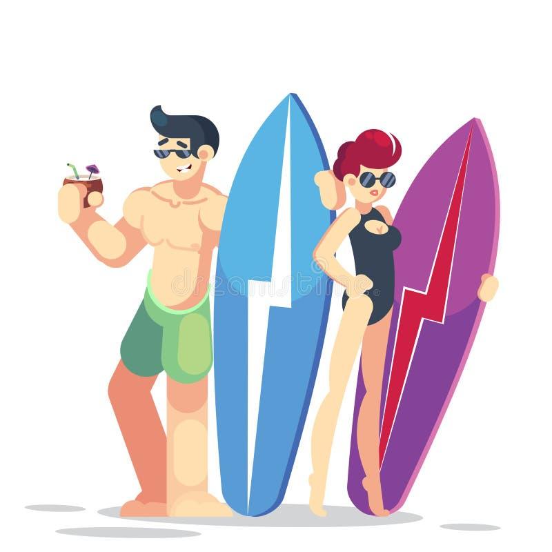 E Illustrazione piana di vettore di stile del fumetto Vacanza di famiglia r Praticare il surfing royalty illustrazione gratis