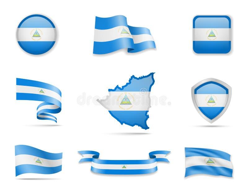 E A ilustra??o do vetor ajustou bandeiras e esbo?o do pa?s ilustração royalty free