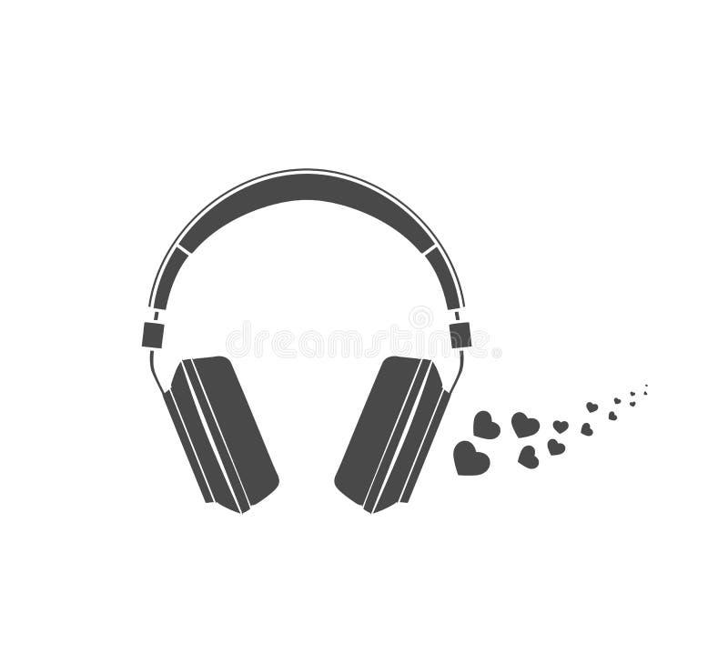 E Imagem dos fones de ouvido no fundo branco ilustração do vetor