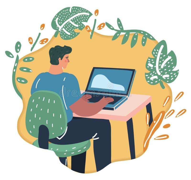 E-inkomens concept Vrouw bij de computer royalty-vrije illustratie