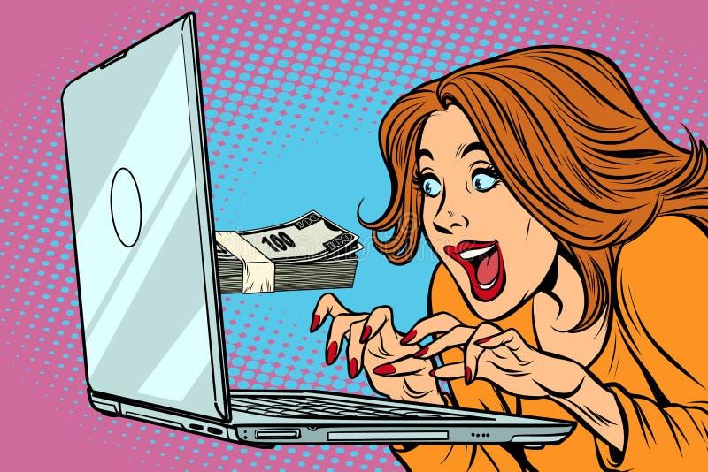 E-inkomens concept Vrouw bij de computer Het freelance werk vector illustratie